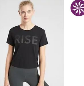 Athleta Rise Crop Tee, Black, S